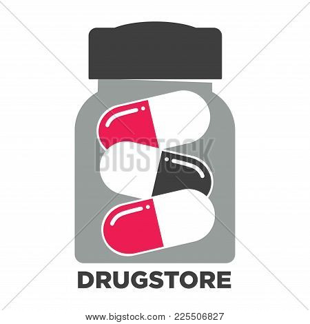 Drugstore Promotional Emblem With Jar Of Capsule Pills. Pharmacy Advertisement Logotype With Useful