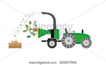 Tree Through Wood Chipping Machine Chipper,  Cleanup,  Equipment,  Filling,