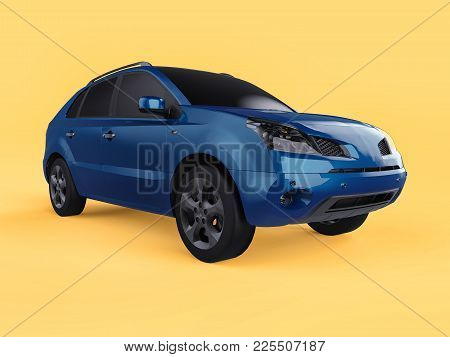 Compact City Crossover Blue Color On A Yellow Background. Right Front View. 3d Rendering