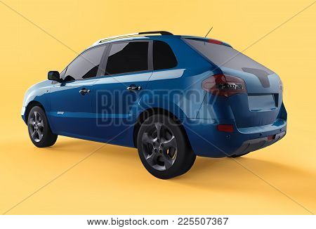 Compact City Crossover Blue Color On A Yellow Background. Left Rear View. 3d Rendering