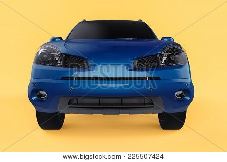 Compact City Crossover Blue Color On A Yellow Background. Front View. 3d Rendering