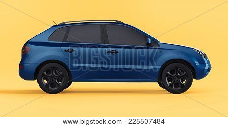 Compact City Crossover Blue Color On A Yellow Background. Right View. 3d Rendering