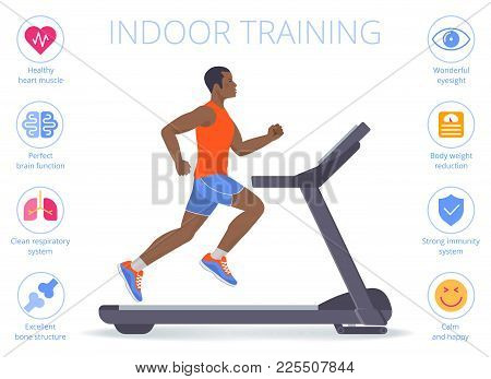 Strong Afro-american Man Is Running On The Treadmill. Flat Vector Illustration Of Athletic Adult Boy
