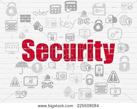 Security Concept: Painted Red Text Security On White Brick Wall Background With Scheme Of Hand Drawn
