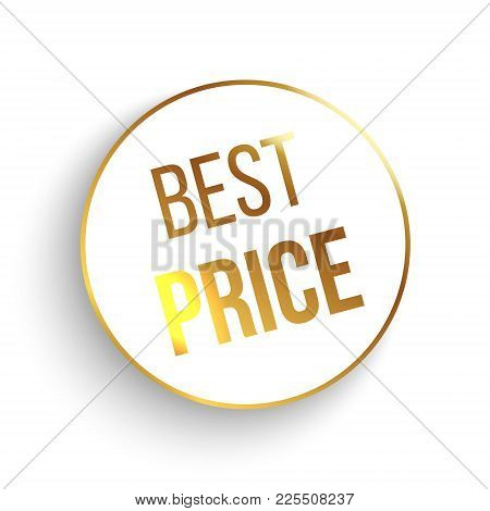 Best Price Circle Banner With Gold Elements. Vector Illustration.