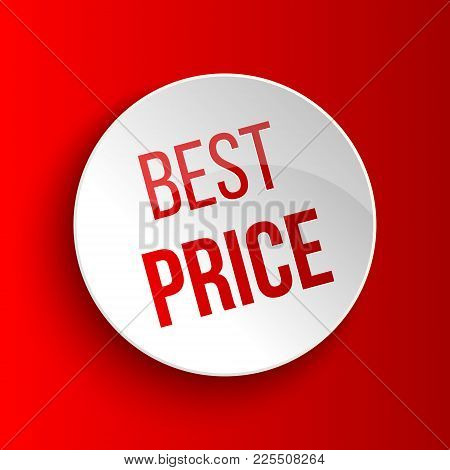 Best Price Circle Banner On Red Background. Vector Illustration.
