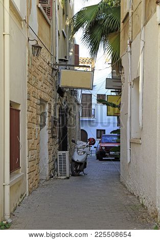 Narrow Street In Old City Of Kyrenia, Cyprus