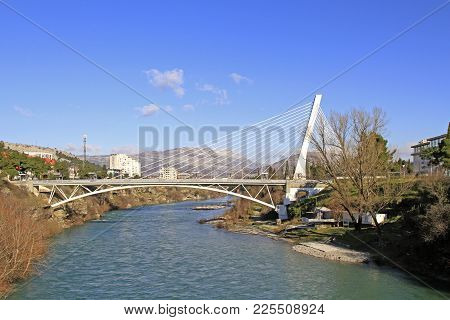 Millenium Bridge Over River Moraca In Podgorica, Montenegro