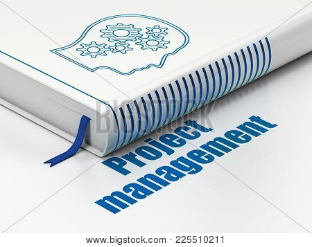 Business Concept: Closed Book With Blue Head With Gears Icon And Text Project Management On Floor, W
