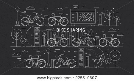 Rental Bikes Parked At Docking Stations On City Street. Concept Of Public Bicycle Sharing Or Rent. M