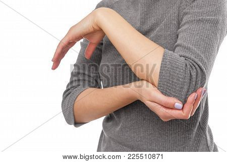Pain In The Elbow. Female Silhouette On White Background.