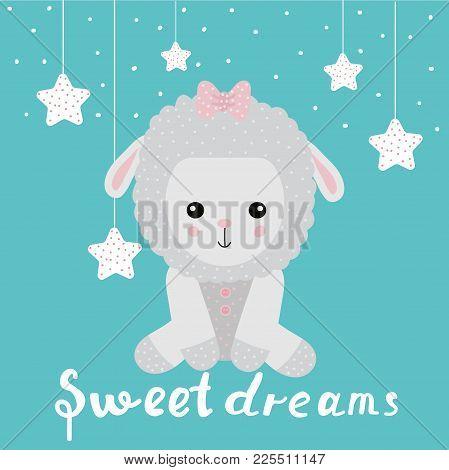 Cute Funny Sheep Sweet Dreams Wishes. Cartoon. Vector.