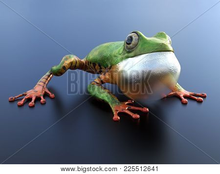 Realistic 3d Rendering Of A Green And Orange Colored Tree Frog Sitting On A Reflective Surface With