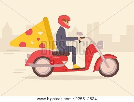 Pizza Delivery On A Moped. Vector. Cartoon. Isolated Art On White Background. Flat