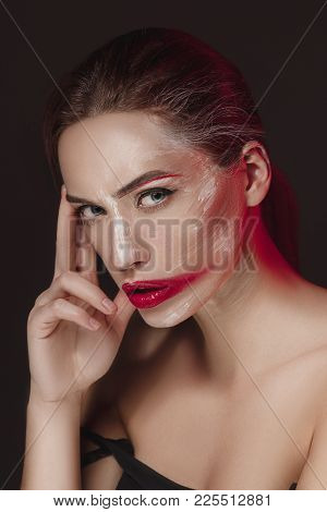 Fashion Model Girl With Colored Face Painted. Beauty Fashion Art Portrait Of Beautiful Woman With Co