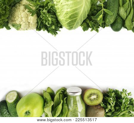 Green Vegetables. Green Fruit And Vegetable On White Background. Apples, Parsley, Spinach, Cucumber