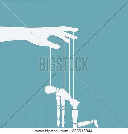 Hand With Broken Puppet. Vector Illustration - Eps 10