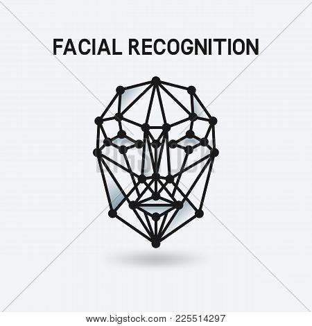 Facial Recognition System 3d Face. Vector Illustration - Eps 10