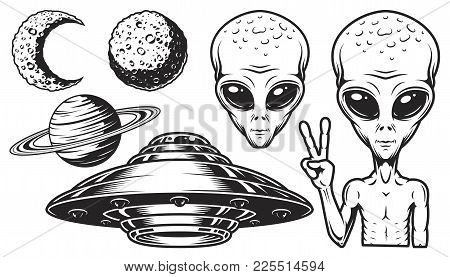 Aliens And Ufo Set Of Vector Objects And Design Elements In Monochrome Style Isolated On White Backg
