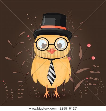 Gift Postcard With Cartoon Animals A Chicken In A Top Hat, Tie And Glasses. Decorative Floral Backgr