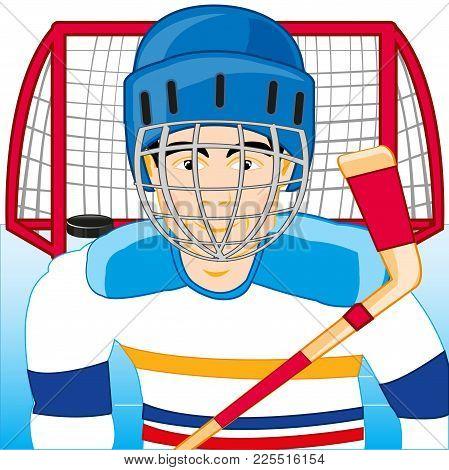 Player In Hockey In Defensive Mask On Field Near Winch