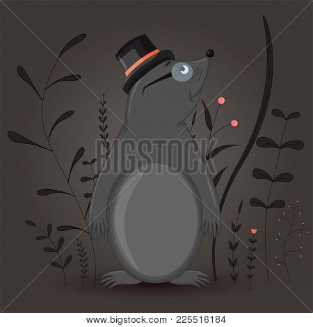 Gift Postcard With Cartoon Animal Mole In The Cylinder And Glasses. Decorative Floral Background Wit