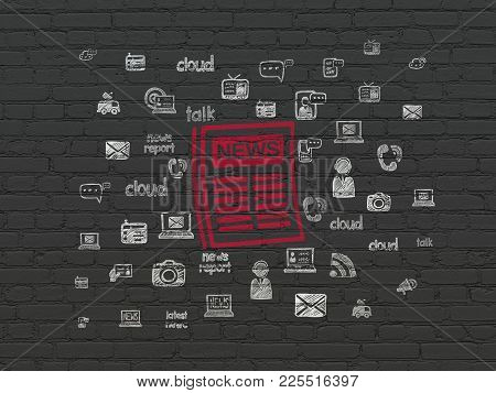 News Concept: Painted Red Newspaper Icon On Black Brick Wall Background With  Hand Drawn News Icons