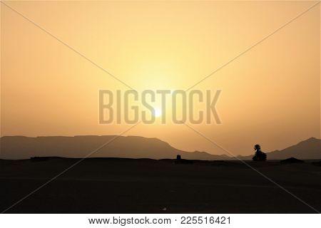 Sahara Desert Dunes At Sunrise In Morocco.