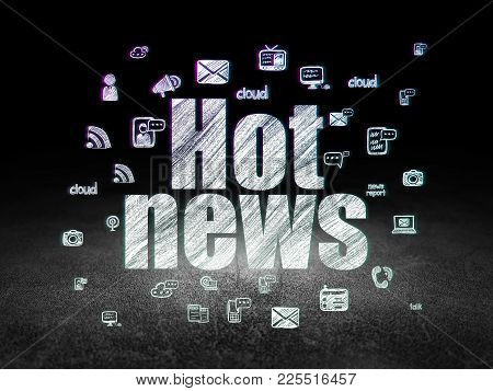 News Concept: Glowing Text Hot News,  Hand Drawn News Icons In Grunge Dark Room With Dirty Floor, Bl
