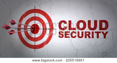 Success Cloud Computing Concept: Arrows Hitting The Center Of Target, Red Cloud Security On Wall Bac