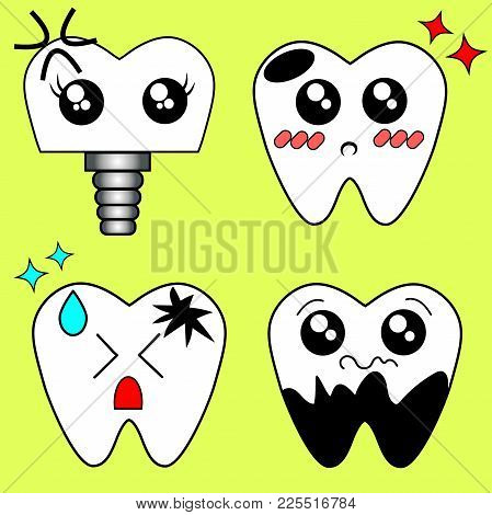 Kawaii Caricature Caries On One Side Of The Tooth Dental Care With Pain Expression On Color Poster W
