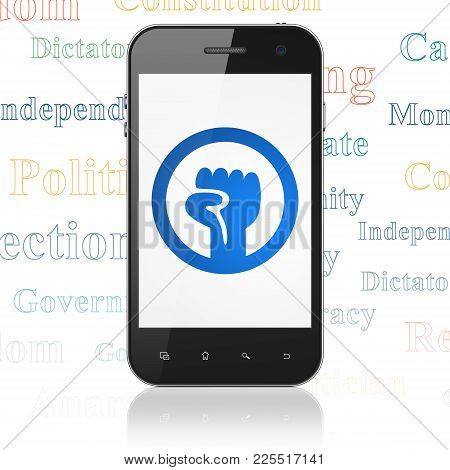 Politics Concept: Smartphone With  Blue Uprising Icon On Display,  Tag Cloud Background, 3d Renderin
