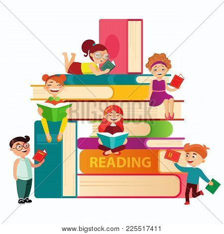 Kids Reading On The Big Stack Of Books Vector Flat Illustration. Small Children Around Books Infogra