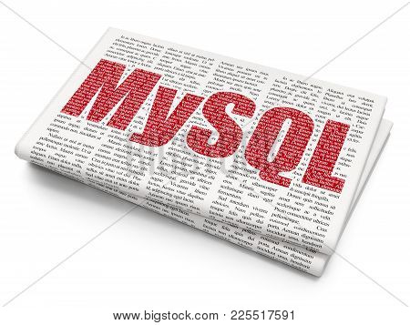 Programming Concept: Pixelated Red Text Mysql On Newspaper Background, 3d Rendering