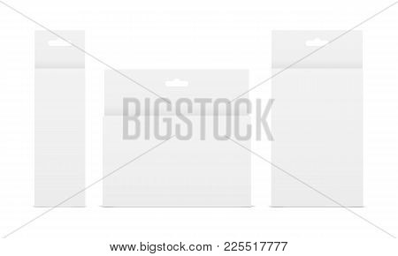 Set Of White Paper Boxes With Hang Tabs - Front View. Showcase Your Design Ideas On This Mockups. Ve