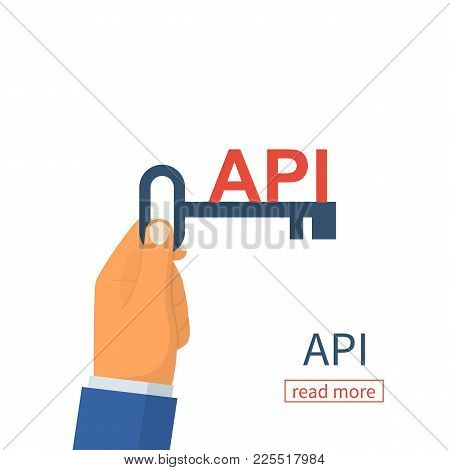 Api Concept. Key Api As A Symbol Of The Finished Code. Programmer Holds The Code In Hand. Vector Ill
