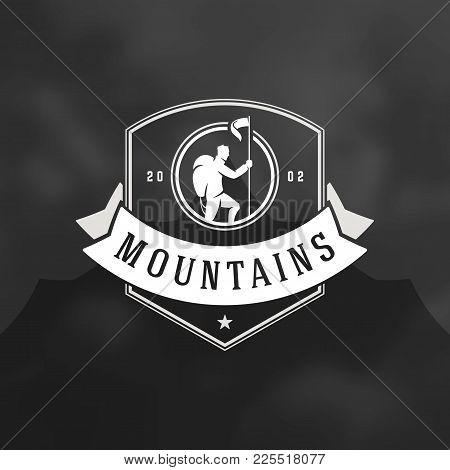 Climber Logo Emblem Vector Illustration. Outdoor Adventure Expedition, Mountaineer Man Silhouette Sh