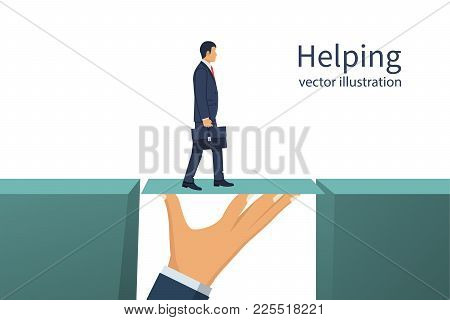 Teamwork Concept. Business Helping. Two Businessmen Solved The Problem Of Overcoming The Abyss. Vect