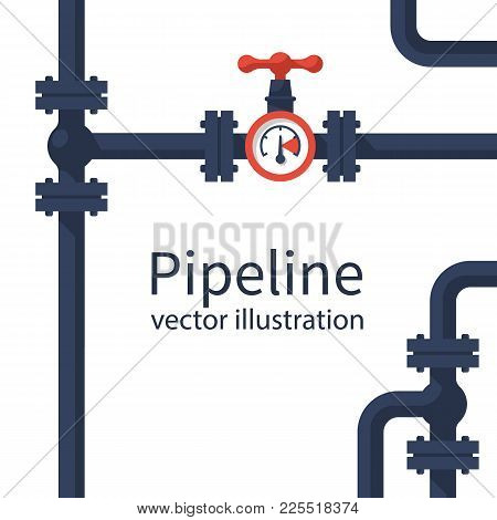 Pipeline Background. Pipe System With Valves For Water Of Gas Oil. Vector Illustration Flat Design.
