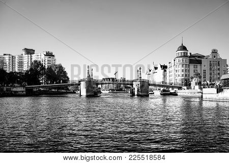 Kaliningrad, Russia - May 11, 2016: Cityscape With View Of The River And The Architecture Of The Cit