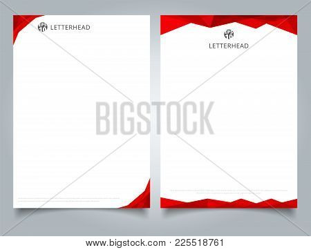 Abstract Creative Letterhead Design Template Red Color Geometric Triangle Overlay On White Backgroun