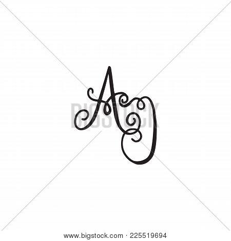 Handwritten Monogram Aj Icon, Logo With Swirls Isolated On White Background