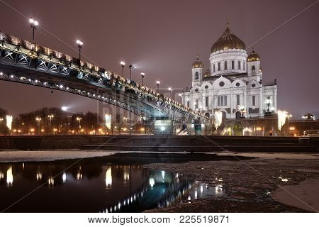 Moscow, Russia - January 29, 2018: The Patriarchal Bridge And The Cathedral Of Christ The Saviour In