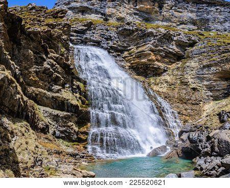 Cola De Caballo Waterfall In Ordesa Valley, Aragon, Spain