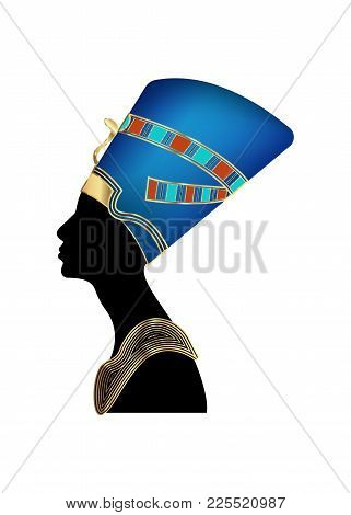 Egyptian Silhouette Icon. Queen Nefertiti.  Vector Portrait Profile With Gold Jewels And Precious St