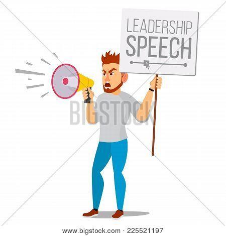 Man Shouting Through Megaphone Vector. Public Protest. Public Speaker. Social Activist. Demonstratio
