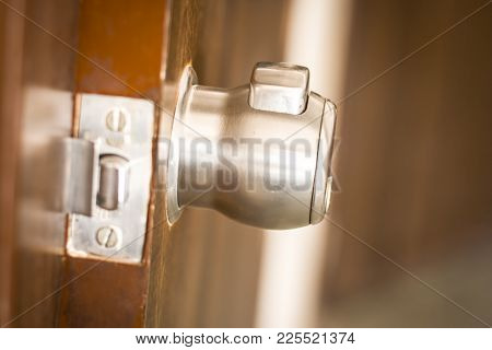 Close Up Of A Steel Door Knob For More Security.