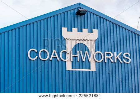 Northampton Uk January 06 2018: Castle Coachworks Accident And Crash Repair Centre Logo Sign On Ware