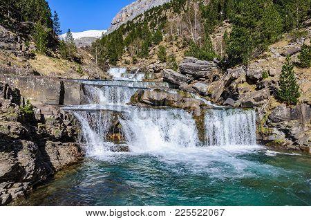 Waterfall In Spring In Ordesa Valley, Aragon, Spain