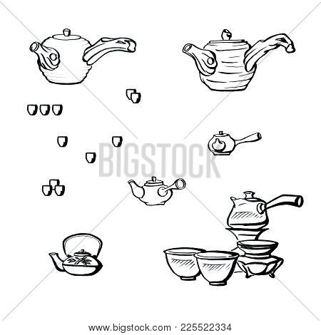 Graphics In Ink - Japanese Tea Ceremony And Traditional Teapot For Tea